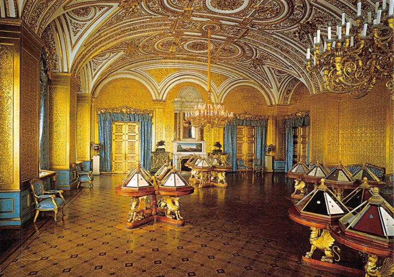 St Petersburg Russia Postcard, The Hermitage, The Golden Drawing Room Y11