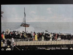 Essex: Clacton on Sea, London Boat Leaves c1910 excellent animated scene