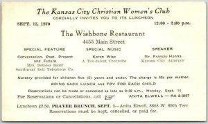 1940s Missouri Postcard KANSAS CITY CHRISTIAN WOMEN'S CLUB Prayer Brunch Program