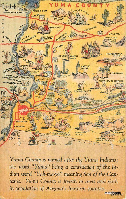 1940s Map Attractions Yuma County Arizona linen Teich linen postcard on map of waianae hi, map of naco az, map of arizona, map of petrified forest az, map of prescott az, map of cochise az, map of pinedale az, map of christopher creek az, map of valle az, map of stanfield az, map of phoenix az, map of portal az, map of santa cruz county az, map of black canyon city az, map of sun city grand az, map of nutrioso az, map of colorado river az, map of gila river az, map of fort mcdowell az, map of tacna az,