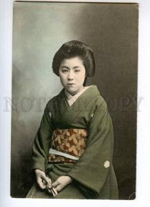 247626 JAPAN Geisha girl in kimono Vintage tinted postcard