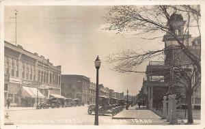 Nampa ID Main Street Store Fronts Old Cars in 1926 Real Photo RPPC Postcard