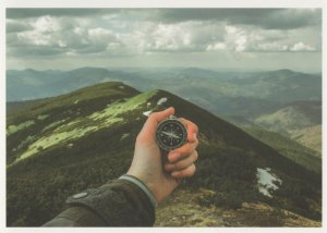 Stopwatch Clock For Mountain Climb Crossing Record Attempt Postcard
