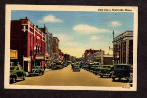 ME Haines Theatre Main St Waterville Maine Old Cars Savings Bank Postcard Linen