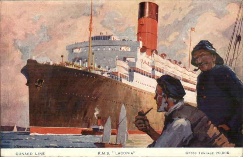 Steamship Poster Art Salty Fishermen Smoking Pipes Cunard Line RMS LACONIA pc