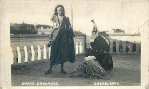 Snake charmer Casablanca Morocco real photo postcard