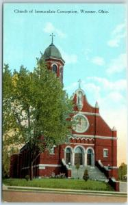 Wooster, Ohio Postcard Church of Immaculate Conception Curteich c1920s Unused