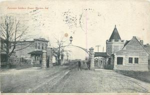 Marion Indiana~Entrance Civil War Soldiers Home~Man Under Arch~1908 Postcard