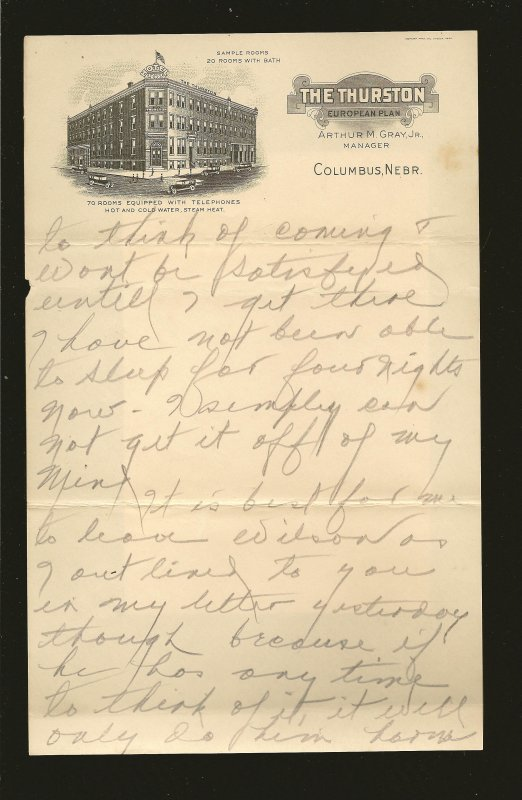 The Thurston Columbus NEBR 1920's Vignetted Hotel Stationary Used 9x6 Inches