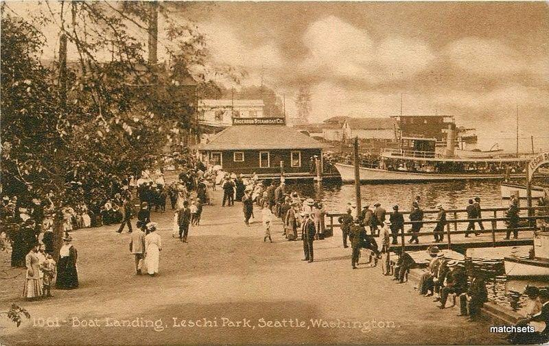 Boat Landing Leschi Park C-1910 Seattle Washington Mitchell postcard 3230