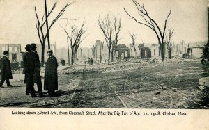 MA - Chelsea. The Great Fire, April 12, 1908. Everett Ave from Chestnut St