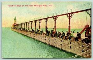Michigan City Indiana~Vacation Days on Pier~Long Line Fisherman Poles~1908 PC