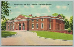 Wilmington Delaware~Society Of Fine Arts Building~1940s Linen Postcard