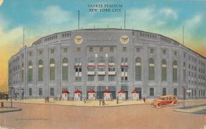 New York City~Yankee Stadium~Front Gates~Vintage Car~Manhattan Post Card~c1940