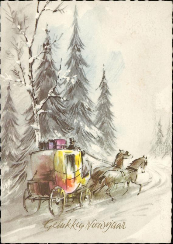 Happy New Year horse carriage winter landscape