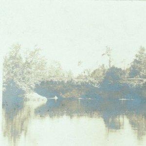 RPPC real photo view of pretty pond bridge supper invitation GAVP Club Auburn MA