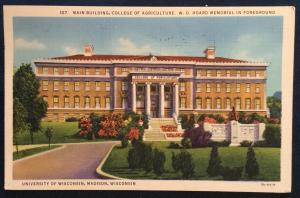 Postcard Used CC 107-Main Building Agriculture College Madison WI LB