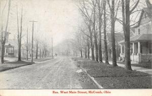 McComb Ohio~Hazy Winter Day~Trees Bare~Home w/Gable, Pillars on Porch~c1913 B&W