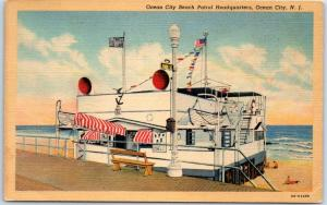 Ocean City, New Jersey Postcard Beach Patrol HQ Police Station Linen 1940