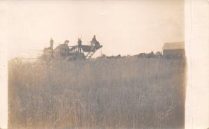 Farm Hands Real Photo Postcard~Farmers Ride Thresher~Horse Teams~~1908 RPPC