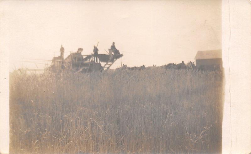 Farm Hands Real Photo Postcard~Farmers Ride Thresher~Horse Teams~~1908 RPPC