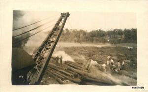 1920s Logging Lumber Workers Crane Boom RPPC real photo postcard 8997