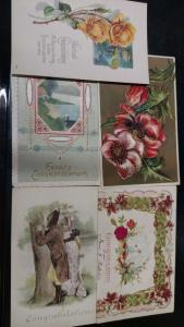 Group of 9 Congratulations Miscellaneous Greetings on  Antique Postcards L926