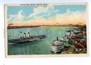 174076 USA DETROIT Mich White Star Docks RPPC Russia surcharge
