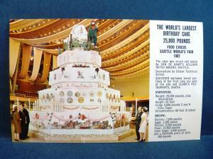 Postcard WA Seattle World's Largest Birthday Cake 1962 Worlds Fair
