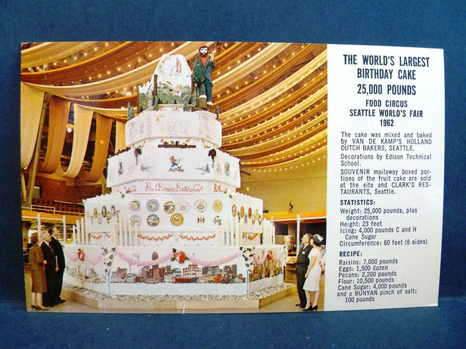 Postcard Wa Seattle Worlds Largest Birthday Cake 1962 Worlds Fair
