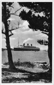 Ship sailing into  St. John Bermuda
