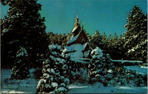 Postcard SD South Dakota Chapel in the Hills Rapid City Snow Covered Unposted