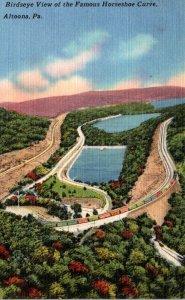 Pennsylvania Turnpike Birds Eye View Of The Famous Horseshoe Curve 1956