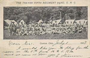 CANTON OH~THAYER FIFTH REGIMENT MILITARY BAND-NATIONAL GUARD--1907 POSTCARD