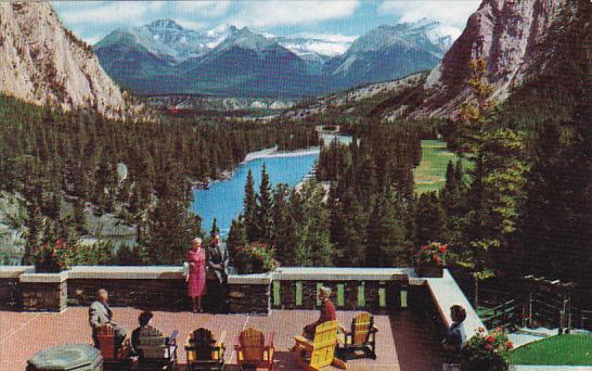 Canada Alberta Banff Beautiful Bow Valley As Seen From Terrace At The Banff S...