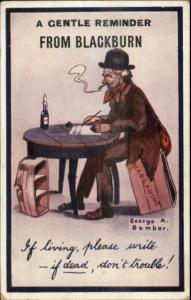 Blackburn UK Hobo Tramp Smoking & Writing Letter c1910 Comic Postcard