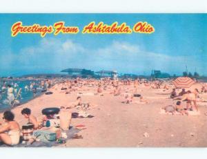 Unused Pre-1980 BEACH SCENE Ashtabula Ohio OH d7137-23