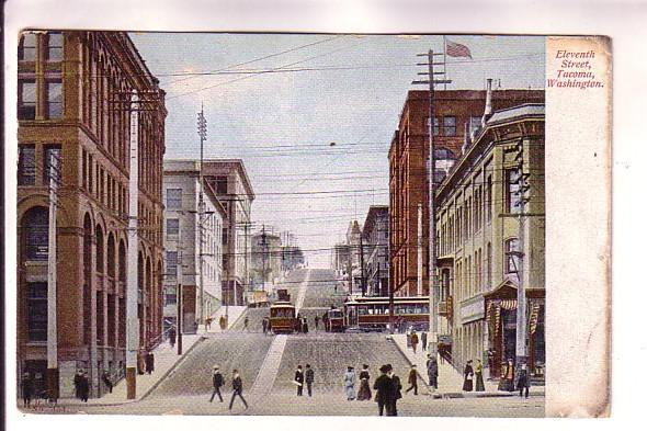 Eleventh Street, People, Trolleys, Tacoma, Washington, E Pluribus Unum