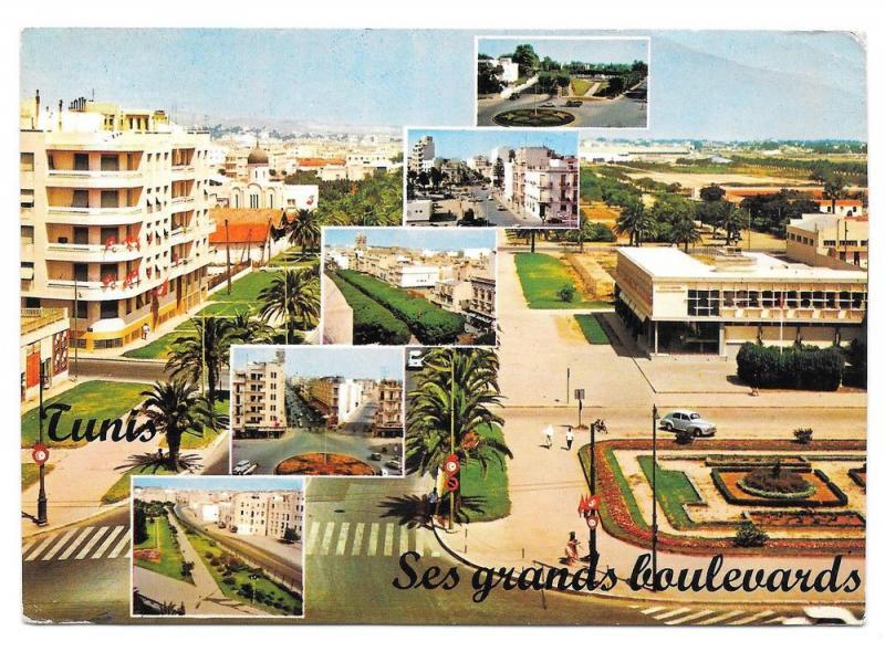 Tunisia Tunis Multiview Ses Grands Boulevards Postcard