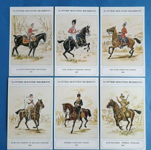 The British Army Scottish Mounted Reg. Postcards Set of 6 by Geoff White Ltd 87Z