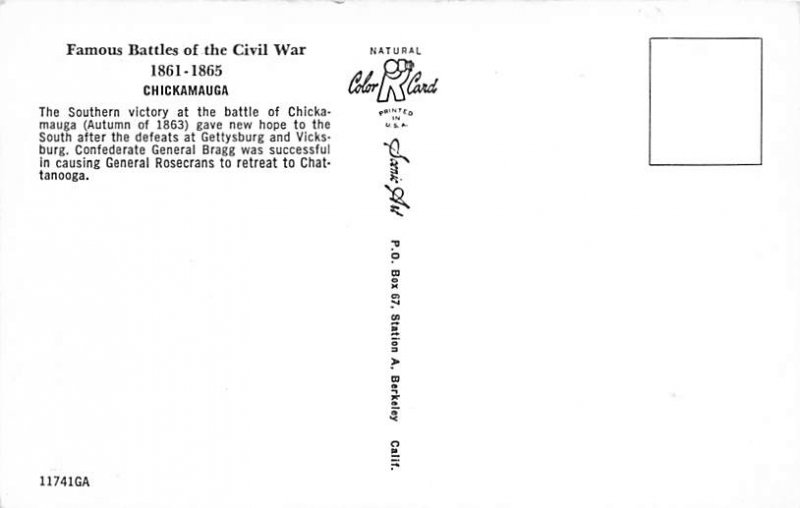 Civil War Post Card Gen. Rosecrans and Gen. Bragg Chickamauga & Chattanooga U...
