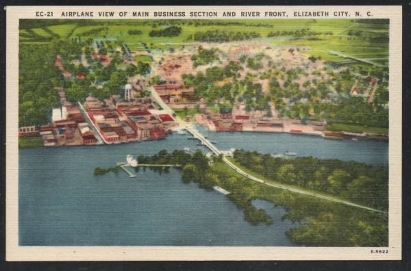 North Carolina colour Airplane View Business Section Elizabeth City, N.C unused