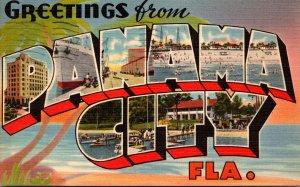 Florida Panama City Greetings Large Letter Linen 1954
