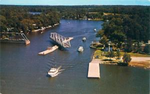TRENT RIVER ONTARIO CANADA ROTATING SWIVEL BRIDGE AERIAL VIEW POSTCARD 1960s