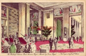 1937 THE WALDORF-ASTORIA PARK AVENUE FOYER - Murals by Louis Rigal