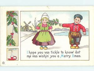 Pre-Linen christmas BOY TICKLES GIRL ON THE FACE WITH HOLLY BRANCH hk9641
