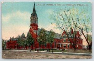 Danville Illinois~St Patrick's Church & Parsonage~Folk on Sidewalk~1913 Postcard