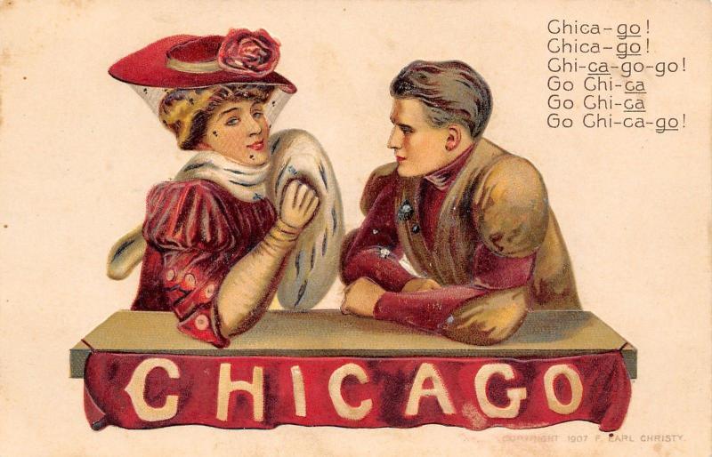 F Earl Christy~Chicago University~Football Player~Cheerleader~Banner~Embossed~#2