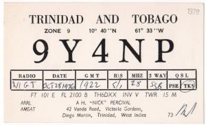 QSL, 9Y4NP, Trinidad and Tobago, 1976
