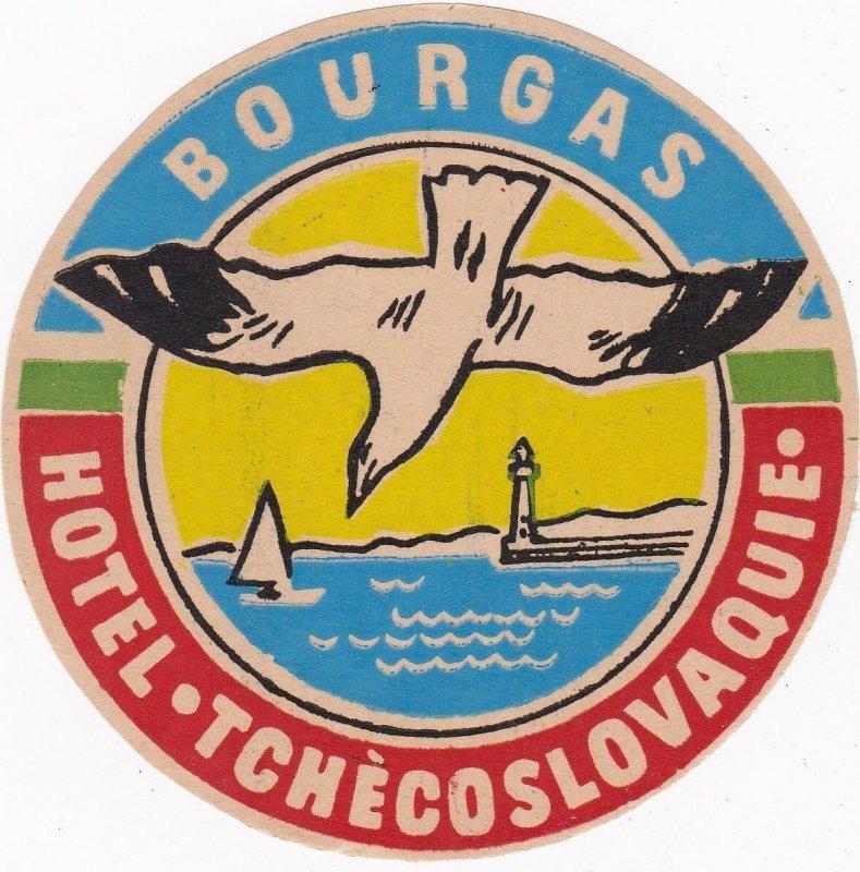 Czechoslovakia Bourgas Hotel Tchecoslovaquie Vintage Luggage Label sk4416